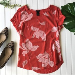 Ann Taylor Petite red floral top white